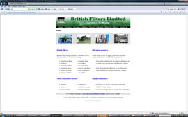 British Filters website design